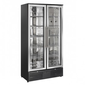 Refrigeratore Verticale Bibite - 458 Litri [+1 +10 C°] - Nera - Doppia Porta a Cerniera