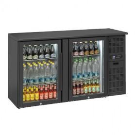 Banco Retro Bar - 315 Litri [+2 +8 C°] - Doppia Porta VETRO a Battente - Nero