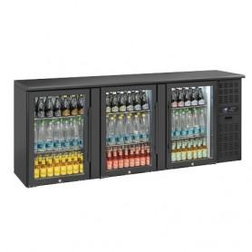 Banco Retro Bar - 500 Litri [+2 +8 C°] - Tripla Porta VETRO a Battente - Nero