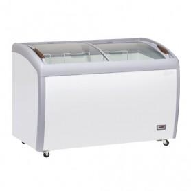 Congelatore Orizzontale a Pozzetto - Porta scorrevole a vetri CURVI - 400 Litri [-22 -18 C°]