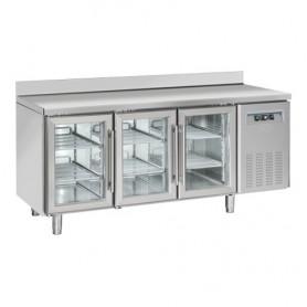 Tavolo Refrigerato in Acciaio INOX - 1800x725x950h mm - [+3 +10C°] - Tre Porte Vetro con Alzatina