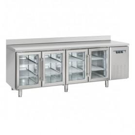 Tavolo Refrigerato in Acciaio INOX - 2250x725x950h mm - [+3 +10C°] - Quattro Porte Vetro con Alzatina