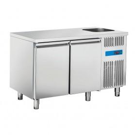 Tavolo Refrigerato in Acciaio INOX - 1350x700x850h mm - [0 +8C°] - Due Porte con Vasca