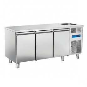 Tavolo Refrigerato in Acciaio INOX - 1780x700x850h mm - [0 +8C°] - Tre Porte con Vasca