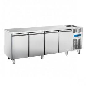 Tavolo Refrigerato in Acciaio INOX - 2240x700x850h mm - [0 +8C°] - Quattro Porte con Vasca