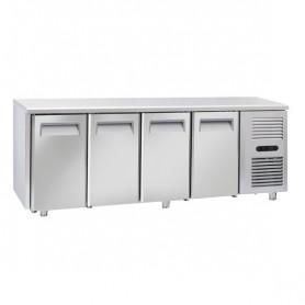 Tavolo Refrigerato in Acciaio INOX - 2255x700x850h mm - [-22 -18C°] - Quattro Porte Tropicalizzato