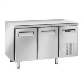 Tavolo Refrigerato in Acciaio INOX - 1380x700x950h mm - [-2 +8C°] - Due Porte Tropicalizzato Senza Alzatina
