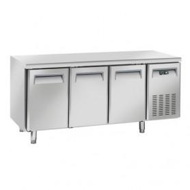 Tavolo Refrigerato in Acciaio INOX - 1815x700x850h mm - [-2 +8C°] - Tre Porte Tropicalizzato Senza Alzatina