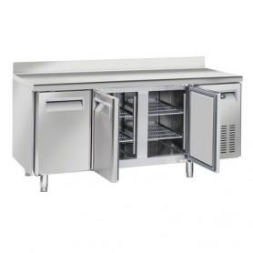 Tavolo Refrigerato in Acciaio INOX - 1815x700x950h mm - [-2 +8C°] - Tre Porte Tropicalizzato con Alzatina