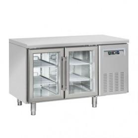 Tavolo Refrigerato INOX - REMOTO - PORTE VETRO - 1380x700x850h mm - [+3 +10C°] - Due Porte Tropicalizzato Senza Alzatina