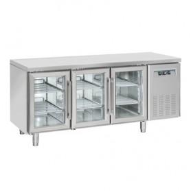 Tavolo Refrigerato INOX - REMOTO - PORTE VETRO - 1815x700x850h mm - [+3 +10C°] - Tre Porte Tropicalizzato Senza Alzatina