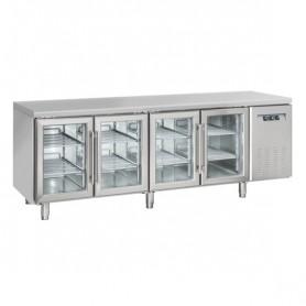 Tavolo Refrigerato INOX - REMOTO - PORTE VETRO - 2255x700x850h mm - [+3 +10C°] - Quattro Porte Tropicalizzato Senza Alzatina