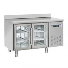 Tavolo Refrigerato INOX - REMOTO - PORTE VETRO - 1380x700x950h mm - [+3 +10C°] - Due Porte Tropicalizzato Con Alzatina