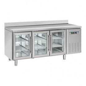 Tavolo Refrigerato INOX - REMOTO - PORTE VETRO - 1815x700x950h mm - [+3 +10C°] - Tre Porte Tropicalizzato Con Alzatina
