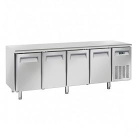 Tavolo Refrigerato in Acciaio INOX - REMOTO - 2255x700x850h mm - [-22 -18C°] - Quattro Porte Tropicalizzato Senza Alzatina