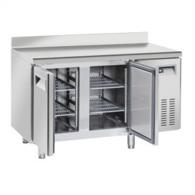 Tavolo Refrigerato in Acciaio INOX - REMOTO - 1380x700x950h mm - [-22 -18C°] - Due Porte Tropicalizzato con Alzatina