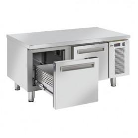 Tavolo Refrigerato in Acciaio INOX - Con CASSETTI- 1200x685x615h mm - [2 +7C°] - Due Cassetti Tropicalizzato Senza Alzatina