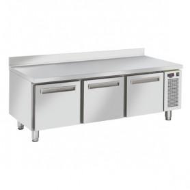 Tavolo Refrigerato in Acciaio INOX - Con CASSETTI- 1600x685x715h mm - [-2 +7C°] - Tre Cassetti Tropicalizzato con Alzatina
