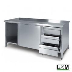 Tavolo da lavoro armadiato in acciaio Inox con cassettiera a destra prof. 70 cm