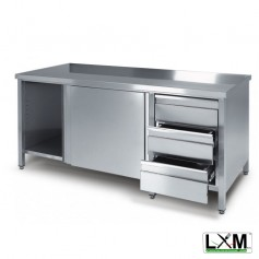 Tavolo da lavoro armadiato in acciaio Inox con cassettiera a destra prof. 80 cm