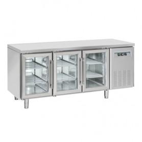 Tavolo Refrigerato in Acciaio INOX - 1800x625x850h mm - [+3 +10C°] - Tre Porte Vetro
