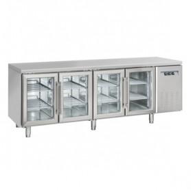 Tavolo Refrigerato in Acciaio INOX - 2250x625x850h mm - [+3 +10C°] - Quattro Porte Vetro