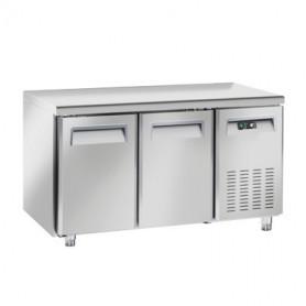 Tavolo Refrigerato in Acciaio INOX - 1350x600x850h mm - [-22 -18C°] - Due Porte senza Alzatina