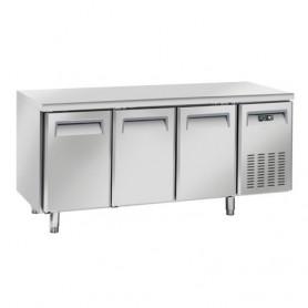 Tavolo Refrigerato in Acciaio INOX - 1800x600x850h mm - [-22 -18C°] - Tre Porte senza Alzatina