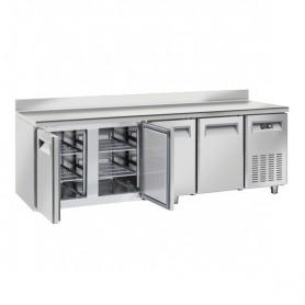 Tavolo Refrigerato in Acciaio INOX - 2250x600x950h mm - [-22 -18C°] - Quattro Porte con Alzatina