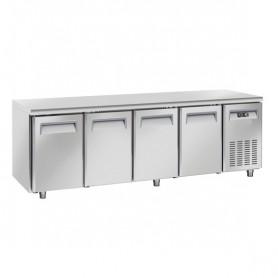 Tavolo Refrigerato in Acciaio INOX - 2480x800x850h mm - [+2 +8C°] - Quattro Porte senza Alzatina