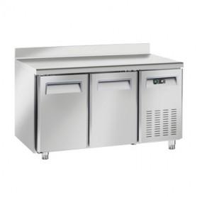 Tavolo Refrigerato in Acciaio INOX - 1500x800x950h mm - [+2 +8C°] - Due Porte con Alzatina