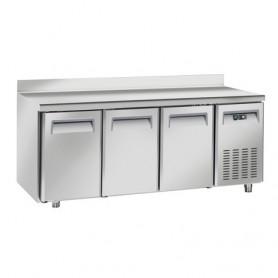 Tavolo Refrigerato in Acciaio INOX - 2025x800x950h mm - [+2 +8C°] - Tre Porte con Alzatina