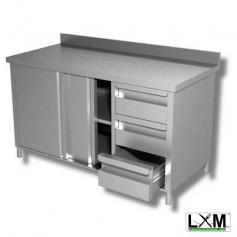 Tavolo da lavoro armadiato in acciaio Inox con cassettiera a destra e alzatina prof. 80 cm