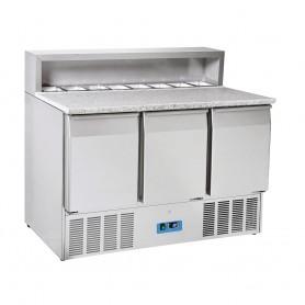 Saladette GN1/1 - 1365x700x1090h mm - [0 +8C°] - Tre Porte e Top Pizza con portabacinelle