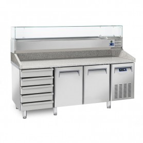 Banco Pizza Refrigerato - 2025x800x1040h mm - [+2 +8C°] - Due Porte + 5 Cassetti con Vetrina Refrigerata