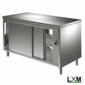 Tavolo da lavoro in acciaio Inox RISCALDATO con porte scorrevoli su 2 lati prof. 70 cm