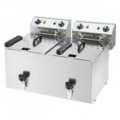 Friggitrice Elettrica - 8 + 8 Litri - 6 kW 230V - con Rubinetto