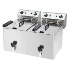 Friggitrice Elettrica - 10 + 10 Litri - 12 kW 400V - con Rubinetto