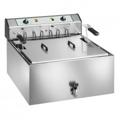 Friggitrice Elettrica per Pasticceria - 25 Litri - 9 kW 400V - con Rubinetto e Cestello Grande