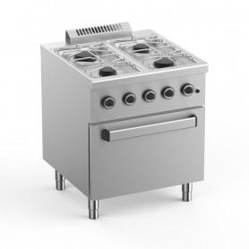 Cucina a Gas - 4 Fuochi su Forno a Gas - 70x71,8x85 cm - 25 KW