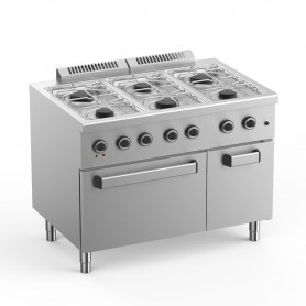 Cucina a Gas - 6 Fuochi su Forno Elettrico Ventilato - 110x71,8x85 cm - 28,5 KW