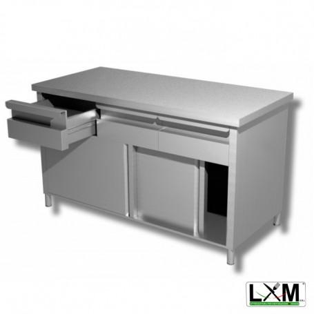 Tavolo da lavoro in acciaio inox con porte scorrevoli e cassettiera orizzontale prof. 60 cm