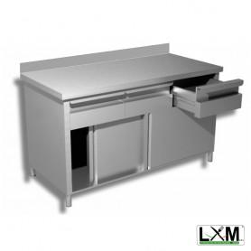 Tavolo da lavoro in acciaio inox con porte scorrevoli,cassettiera orizzontale e alzatina prof. 60 cm