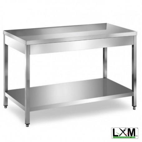 Tavolo in acciaio Inox su gambe con ripiano prof. 70 cm