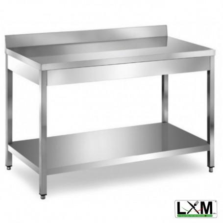 Tavolo in acciaio Inox su gambe con ripiano e alzatina prof. 80 cm