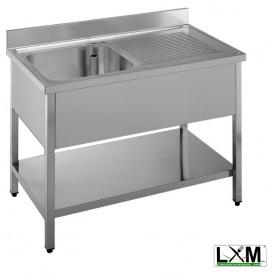 Lavatoio in acciaio inox ad 1 vasca con sgocciolatoio a destra e ripiano prof. 60 cm