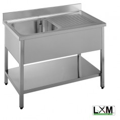 Lavatoio in acciaio inox ad 1 vasca con sgocciolatoio a destra e ripiano prof. 70 cm