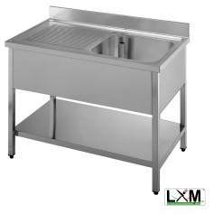 Lavatoio in acciaio inox ad 1 vasca con sgocciolatoio a sinistra e ripiano prof. 60 cm
