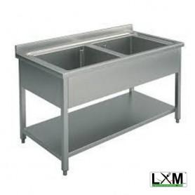 Lavatoio in acciaio inox a 2 vasche con ripiano prof. 60 cm