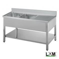 Lavatoio in acciaio inox a 2 vasche con sgocciolatoio a destra e ripiano prof. 70 cm